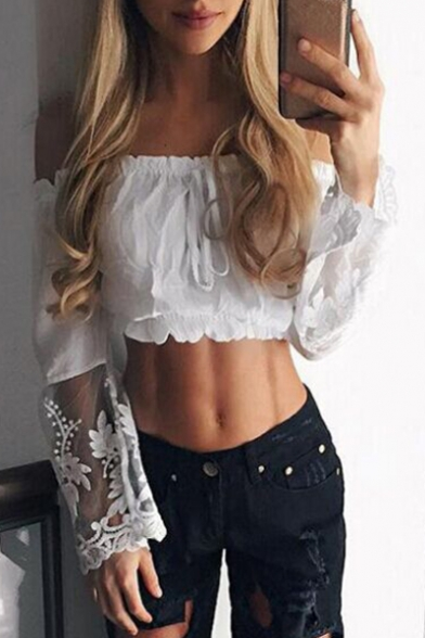Popular the Front Blouse Panel Plain Tie Cropped Shoulder Off Lace Bow FRwrqxfFt