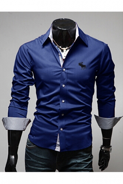 Simple Animal Embroidered Lapel Collar Long Sleeve Buttons Down Shirt