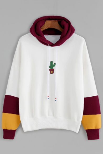 Simple Cactus Printed Color Block Long Sleeve Leisure Hoodie