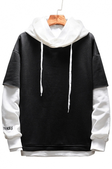 Pieces Simple Two Embroidered Color Smile Block Hoodie Sleeve Letter Face Fake Long TrwqZCT8x