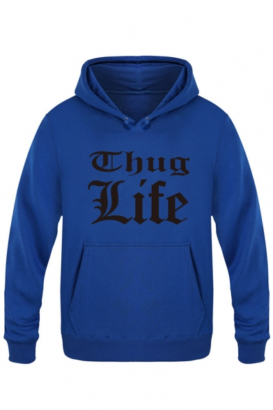 Sleeves Simple Print Long Letter with Men's Hoodie Fashion Pocket Pullover xvwvap6