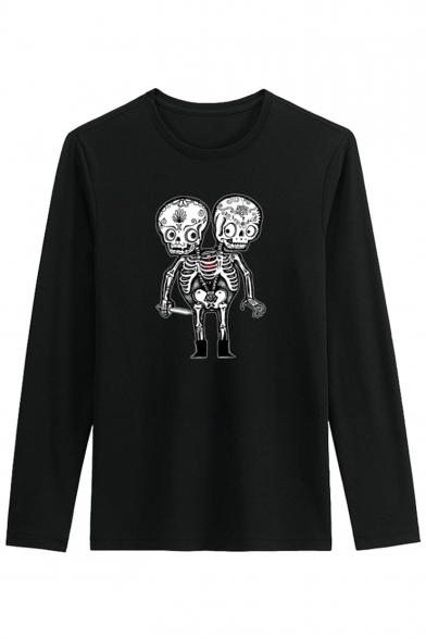 Long Cartoon Printed Style Street Neck Sleeve Skull Leisure Tee Round xHTSYPwq