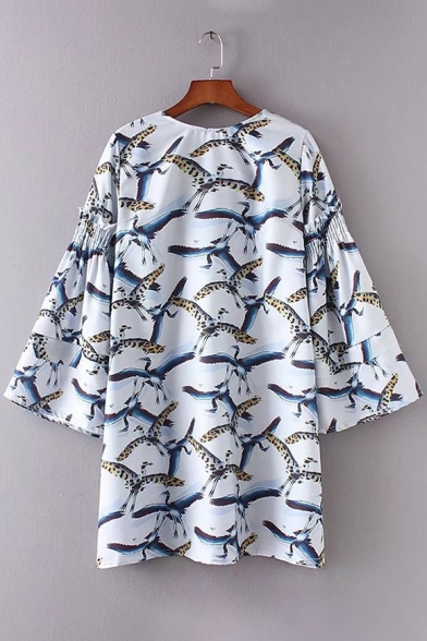 Mini Crane Bell Tie Print Bow Unique Shift Sleeve Hollow Dress Back zPxqwa1d