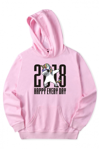 Unique Unicorn Letter Print Long Sleeves Pullover Hoodie with Pocket
