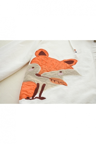 Breasted Ears Drawstring Fox Jacket Embroidered Hooded Adorable Letter Single WgxnIU