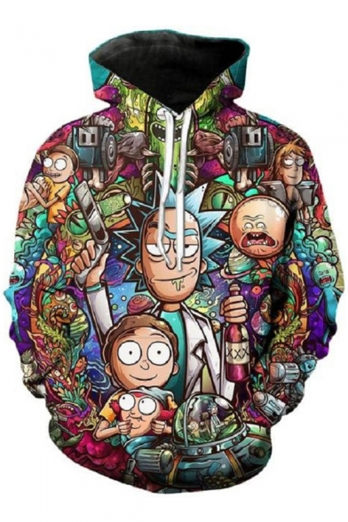 Comic 3D Cartoon Character Printed Long Sleeve Leisure Unisex Hoodie