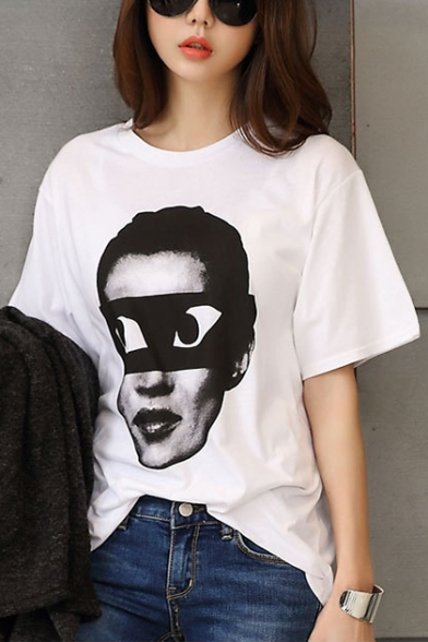 Round Printed Cartoon Comic Short Loose Tee Character Sleeve Neck qwfnt4