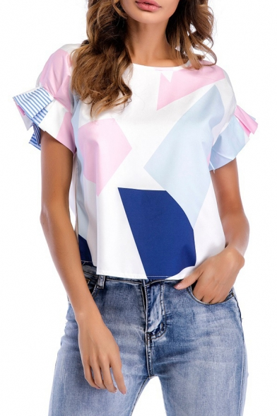 Cuff Dipped Summer Tee Casual Block Fashionable Ruffle Color Hem Round Neck twq1SS