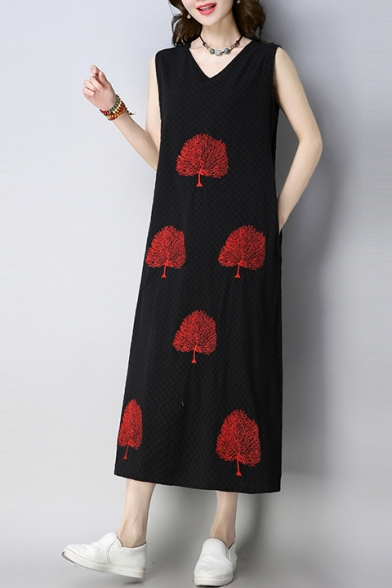 Fashionable Tree Pattern V-Neck Sleeveless Midi Tank Dress