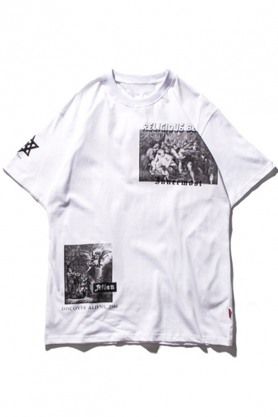 Short Hop Sleeve Tee Round Printed Style Painting Neck Hip Letter wZWHnO6R6x