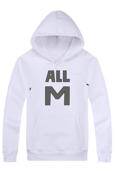 Printed Leisure Sleeve Hot Simple with Long M ALL Pocket Sale Hoodie Letter XqFq1RUw