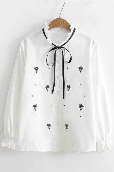 Ladylike Bow Tie Ruffle V-Neck Button Front Floral Embroidered Loose Shirt