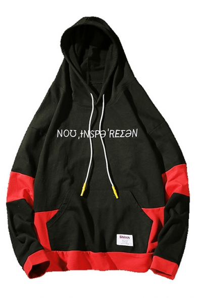 Sleeve Pocket Embroidered Hoodie Letter Block Long Color Leisure with wSxqOXPWB