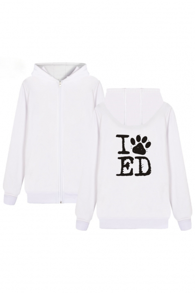 for Zip Couple Dog's Up Letter Long Printed Sleeve Paw Hoodie Leisure THpfqza