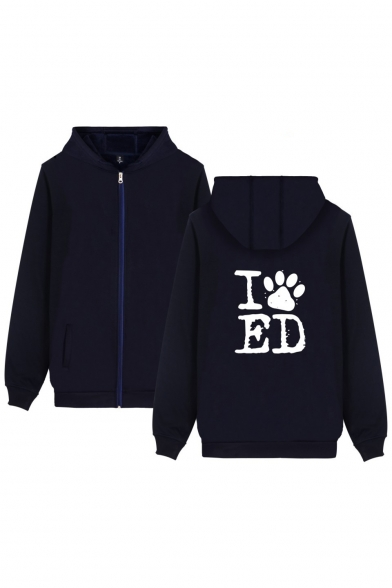Printed Zip Paw Sleeve Hoodie Long Couple Letter for Leisure Dog's Up twx5YFZY