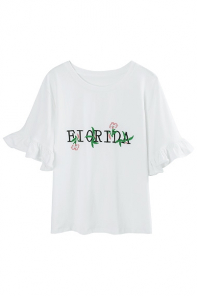 Sleeve Round Neck Floral Leisure Short Cuff Ruffle Embroidered Detail Tee Letter OAqa7X7