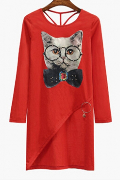 Neck Printed Sleeve Tee Hem Lovely Asymmetric Out Tunic Long Hollow Cat Round tw5CXq