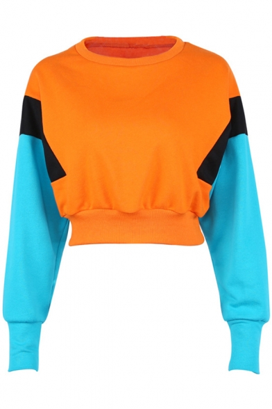 Block Neck Round Color Cropped Pullover Sleeves Popular Sweatshirt Long pS7qx