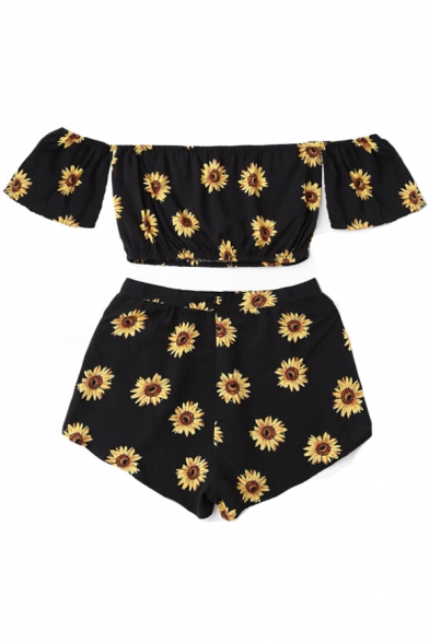 Shoulder Retro Top Shorts Floral Cropped the Loose with Print Off Sunflower OXCxOrT