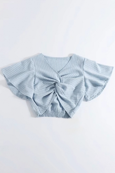 V Neck Knotted Front Flare Short Sleeve Ribbed Elastic Waist Cropped Blouse