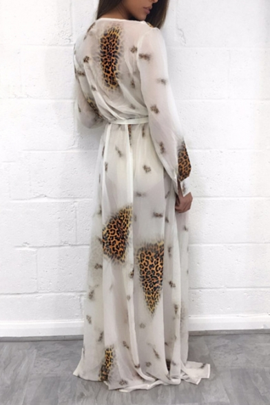 Wild Jungle Style Long Sleeve Leopard Pattern Bow Belted Maxi Beach Dress