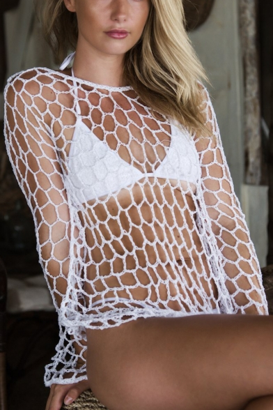 Beach Fashion Plain Boat Neck Long Sleeve Mesh Net Cover Up