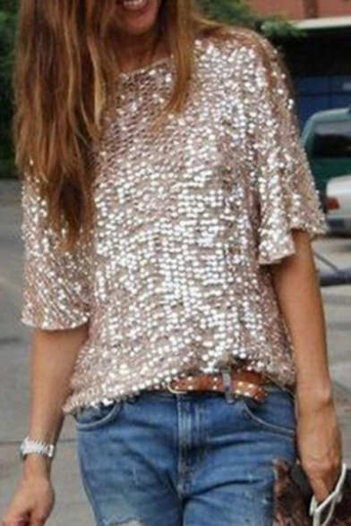 Casual Sequined Detail Boat Neck Half Sleeve Loose Summer Tee