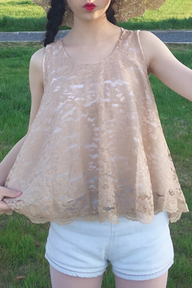 Back Tank Chic Sleeveless Scoop Tie Panel Summer Lace Bow Loose Neck 0gIvn0xr
