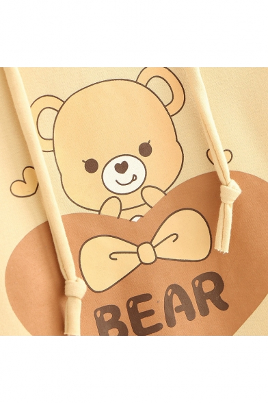 up Layered Detail Print Pullover Lace Bear Hoodie Sweetheart Childish Letter nqpaXw8