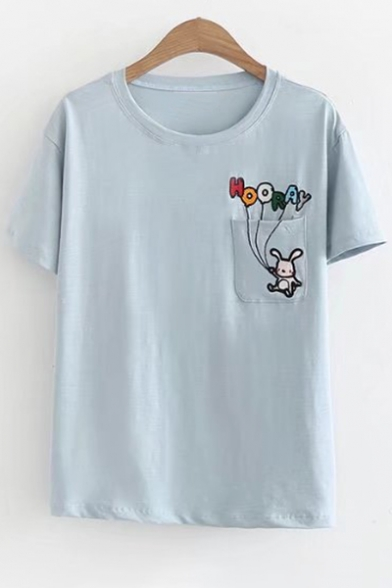 Chest Tee Short Pocket Childish Neck Sleeves Embroidery Letter Rabbit Round w1xZF