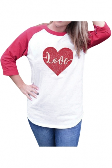 Printed Letter 3 Neck Block 4 Length Raglan Round Heart Tee Sleeve Color qFRw7TnS