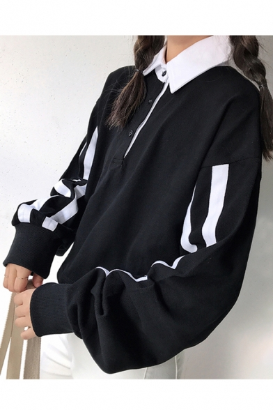 Tee Collar Long Leisure Striped Lapel Sleeve Contrast Sports 1q0zPn