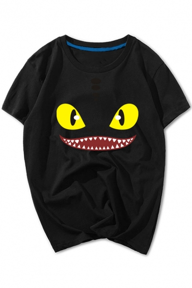 Cute Monster Face Print Round Neck Short Sleeves Casual Tee