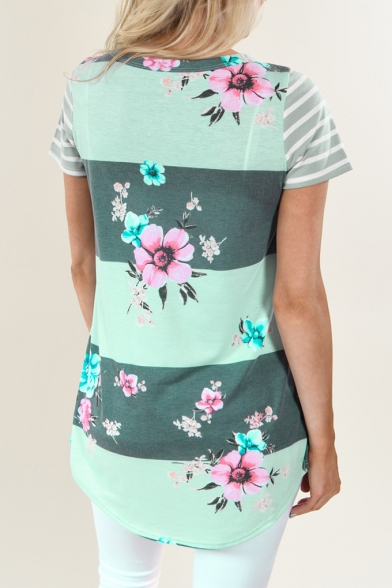 Daily Fashion Floral Pattern Color Block Striped Pocket Short Sleeve Tee