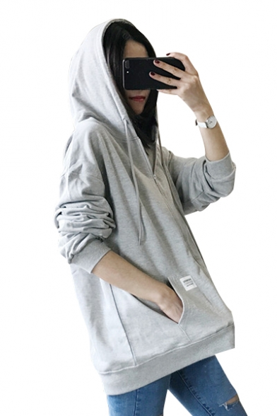 with Plain Daily Zippered Long Style Sleeves Hoodie Pockets Women's pnRq7av