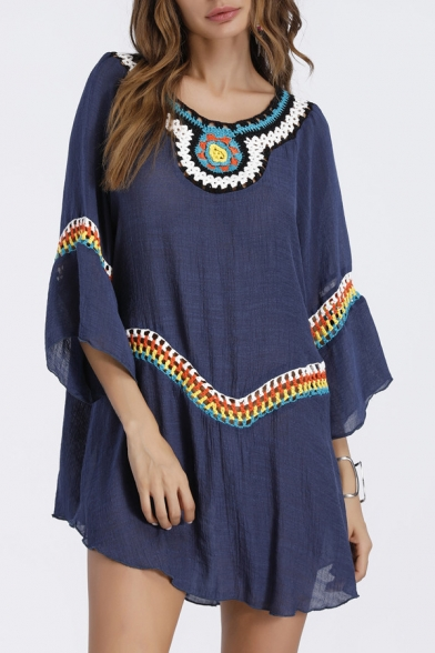 Ethnic Style Tribal Embroidered Wide Sleeve Boat Neck Swing Mini Dress LC464593 фото