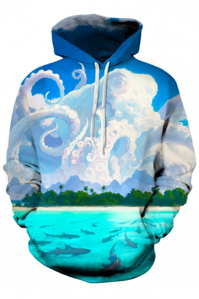 Fabulous Cloud Octopus Shark Print Long Sleeves Pullover Hoodie