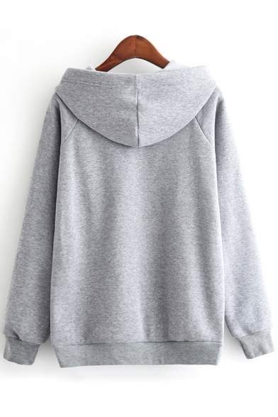 Block Sleeves Hoodie Fancy Pullover Color Long Doughnut Print Letter qYITS