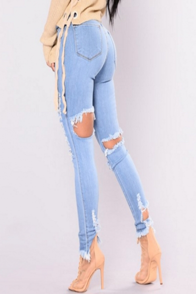 Fashionable High Waist Plain Ripped Off Hollow Detail Zipper Fly Skinny Jeans