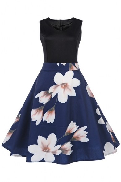 Ladylike Women's Fashion Floral Print Patchwork Sleeveless Fit & Flare Midi Dress