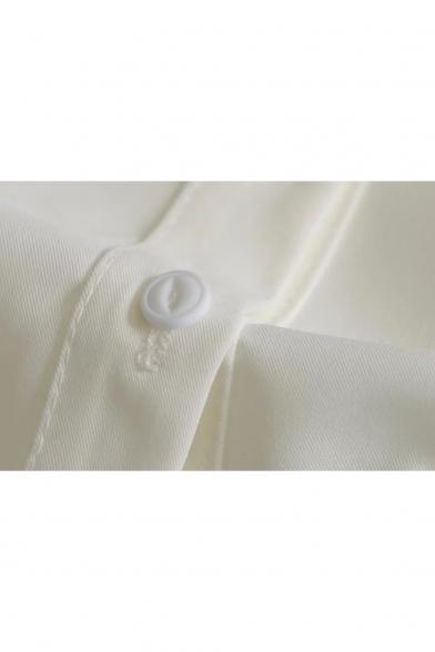 Ruffle Cuff Long Collar Peter Pan Tied Shirt Leisure Chiffon Sleeve Buttons Down xqTOwgCqYW