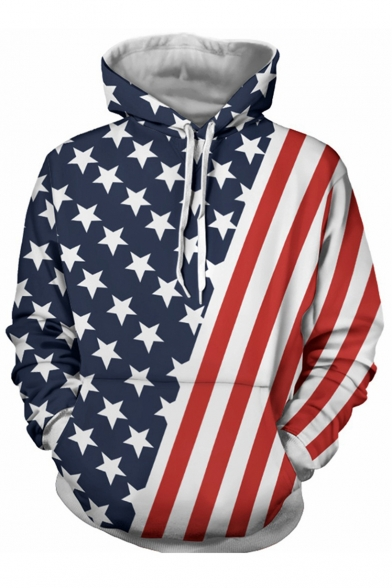 New Fashion Star Striped Flag Print Long Sleeves Pullover Hoodie
