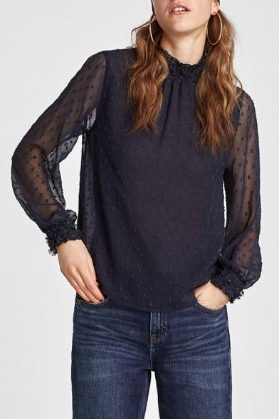 Polka Dot Printed Beaded Embellished Mock Neck Sheer Back Long Sleeve Blouse