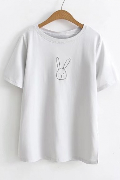 Tee Short Sleeves Cartoon Rabbit Popular Round Neck Casual Embroidered RZx8qp