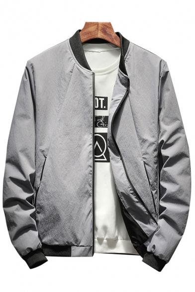 Popular Stand-up Collar Long Sleeves Zippered Baseball Jacket