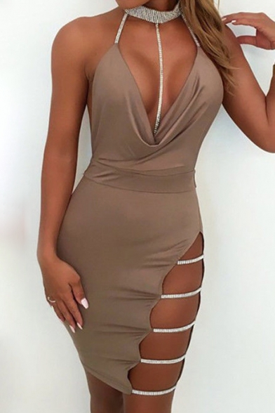 41e2f5669f6 ... Sexy Halter Neck Low-cut Ladder Side Hollow Out Open Back Mini Bodycon  Dress ...
