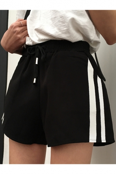Sportive Striped Side Drawstring Waist Pocket Detail Loose Sports Shorts