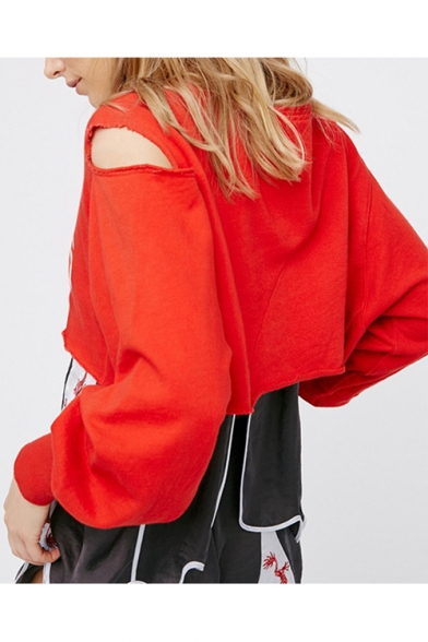 Sweatshirt Pullover Street Letter Out Blouson Print Sleeve Cropped Fashion Hollow 88x4z1