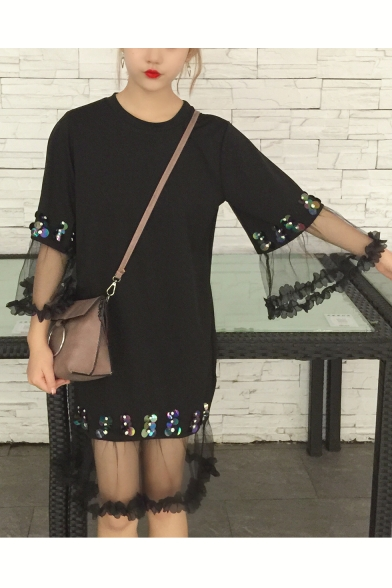 Stylish Sequined Detail Lace Panel Round Neck Midi Summer T-shirt Dress