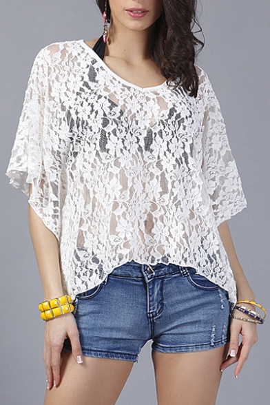 Summer Collection Floral Lace Round Neck Batwing Sleeve Blouse